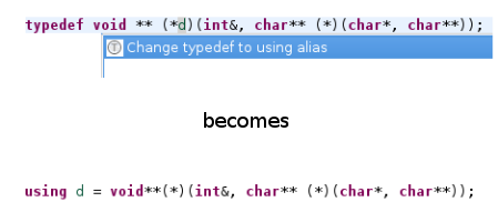 Replacing typedefs with using